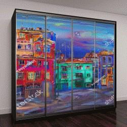 """Шкаф купе с фотопечатью """"Вечерняя улица с разноцветными домами"""""""