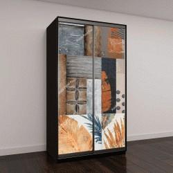 """Шкаф купе с фотопечатью """"Стены искусства абстрактная дизайн в квадрате цифровой плитка изображения"""""""