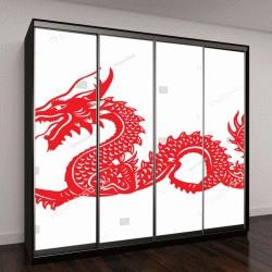 """Шкаф купе с фотопечатью """"Китайский красный дракон, силуэт"""""""
