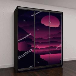 """Шкаф купе с фотопечатью """"ночной пейзаж с фиолетовыми листьями"""""""