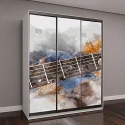 """Шкаф купе с фотопечатью """"живопись, гитара на фоне клякс"""""""