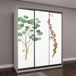 """Шкаф купе с фотопечатью """"цветы, листья и ветви, имитация акварели"""""""