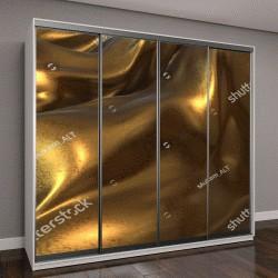 """Шкаф купе с фотопечатью """"летящая золотая ткань """""""