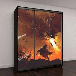 """Шкаф купе с фотопечатью """"фэнтези сцена: мальчик убегает от огненного дракона"""""""