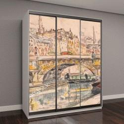 """Шкаф купе с фотопечатью """"Буксир на Пон-Неф, французский пост-импрессионизм, акварельная живопись"""""""