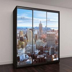 "Шкаф купе с фотопечатью ""Вид с воздуха на Манхэттен на закате, Нью-Йорк"""