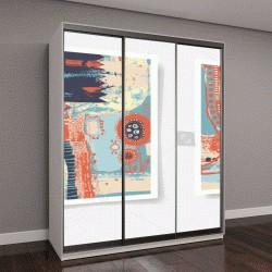 """Шкаф купе с фотопечатью """"набор из четырех штук пустой лист А4 современной абстрактной живопись, оригинальная абстракция фон вектор иллюстрация коллекция"""""""