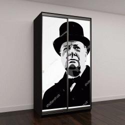 """Шкаф купе с фотопечатью """"портрет Уинстона Черчилля"""""""