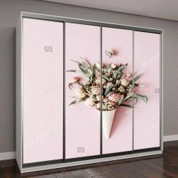 """Шкаф купе с фотопечатью """"вафельный конус с розами """""""