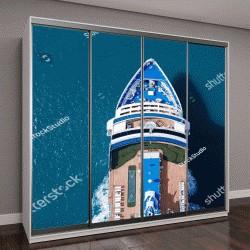 """Шкаф купе с фотопечатью """"Большой круизный корабль, плывущий по Средиземному морю - воздушный образ"""""""