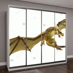 """Шкаф купе с фотопечатью """"Дракон 3D иллюстрация"""""""