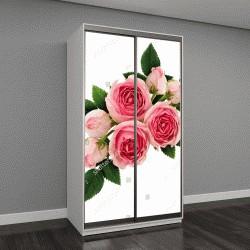 """Шкаф купе с фотопечатью """"Розовые розы цветы, изолированные на белом"""""""