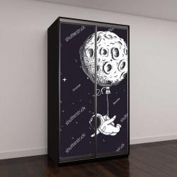 """Шкаф купе с фотопечатью """"Забавный пришелец с Луны летает как воздушный шарик"""""""