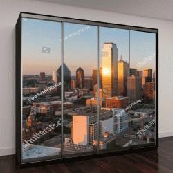 """Шкаф купе с фотопечатью """"Даллас, штат Техас, городской пейзаж на закате"""""""