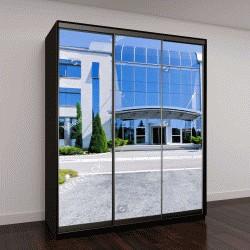 """Шкаф купе с фотопечатью """"здание из синего стекла """""""