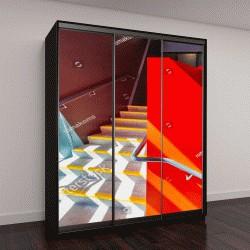 """Шкаф купе с фотопечатью """"Лестница окрашенная в красный цвет"""""""