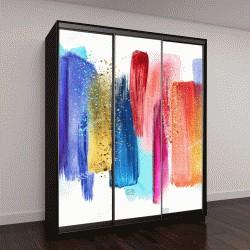 """Шкаф купе с фотопечатью """"абстрактные акварельные мазки, изолированные на белом фоне, краской мажет, красный голубой палитре """"образцы"""" современного искусства стены"""""""