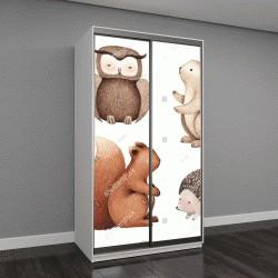 """Шкаф купе с фотопечатью """"Акварельные иллюстрации милых животных"""""""