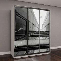 """Шкаф купе с фотопечатью """"Городская геометрия, вид на стеклянное здание"""""""