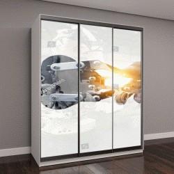 """Шкаф купе с фотопечатью """"Кибер коммуникации и концепция робототехники"""""""