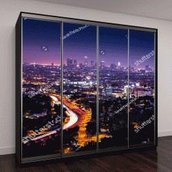 """Шкаф купе с фотопечатью """"Вид на центр города Лос-Анджелес с Голливудских холмов"""""""