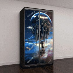 """Шкаф купе с фотопечатью """"Научно-фантастический город с гигантскими небоскребами и летающими космическими кораблями 3д"""""""
