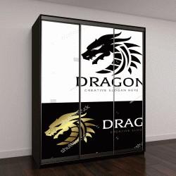 "Шкаф купе с фотопечатью ""Шаблон Логотипа Дракона"""