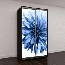 """Шкаф купе с фотопечатью """"светло-голубой цветок на белом фоне"""""""