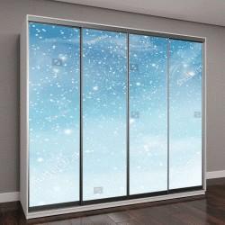 """Шкаф купе с фотопечатью """"Зима голубое небо с падающим снегом, снежинки"""""""
