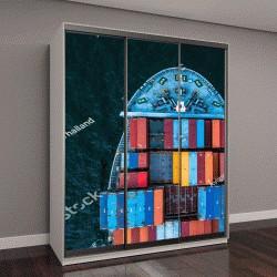 """Шкаф купе с фотопечатью """"международное контейнерное судно в открытом море"""""""
