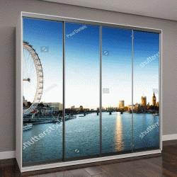 """Шкаф купе с фотопечатью """"Лондон: пейзаж на рассвете. Биг-Бен, Вестминстерский дворец, река Темза"""""""
