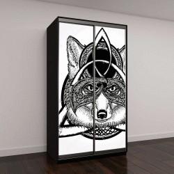 """Шкаф купе с фотопечатью """"Волшебная лиса татуировки и дизайна футболок, кельтский стиль"""""""