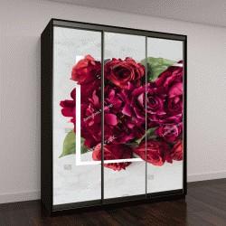 """Шкаф купе с фотопечатью """"макет с цветами и белая рамка"""""""