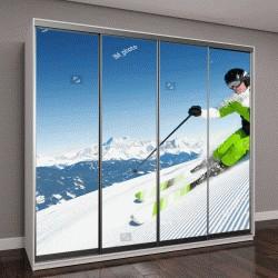 """Шкаф купе с фотопечатью """"Лыжник в горах, подготовленные трассы и солнечный день"""""""