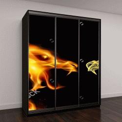 """Шкаф купе с фотопечатью """"голова дракона в огне на черном фоне"""""""