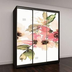 """Шкаф купе с фотопечатью """"Цветы, акварельные иллюстрации"""""""