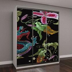 """Шкаф купе с фотопечатью """"Вышивка китайские драконы и розы цветы бесшовные шаблон"""""""