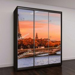 """Шкаф купе с фотопечатью """"Вид на закат от Эйфелевой башни и реки Сены в Париже, Франция"""""""