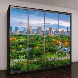 """Шкаф купе с фотопечатью """"Городской пейзаж Бангкока, Лумпини парк """""""