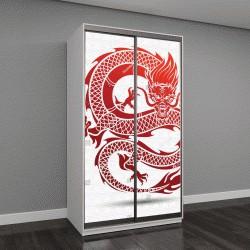 """Шкаф купе с фотопечатью """"красный традиционный китайский дракон """""""
