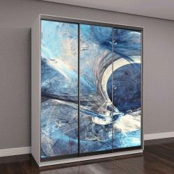 """Шкаф купе с фотопечатью """"Абстрактные яркие картины в синих тонах"""""""
