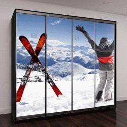 """Шкаф купе с фотопечатью """"Пара лыж и женщина-лыжник"""""""