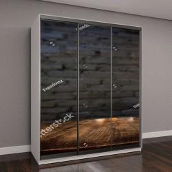 """Шкаф купе с фотопечатью """"коричневый деревянный стол и старая черная кирпичная стена """""""