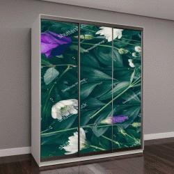 """Шкаф купе с фотопечатью """"макет из зеленых листьев и цветов"""""""