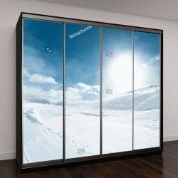 """Шкаф купе с фотопечатью """"зимний пейзаж с катанием на лыжах """""""
