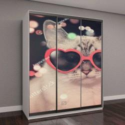 """Шкаф купе с фотопечатью """"Белый милый кот с солнцезащитные очки красное сердце на черном фоне с разноцветными блестками вокруг животного, на вечеринку или концепции праздника"""""""