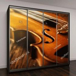 """Шкаф купе с фотопечатью """"скрипка в винтажном стиле на деревянном фоне"""""""