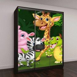 """Шкаф купе с фотопечатью """"Мультфильм дикий зверь в джунглях"""""""