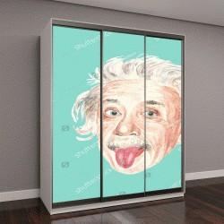 """Шкаф купе с фотопечатью """"акварельный портрет Альберта Эйнштейна на зеленом фоне"""""""