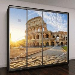 """Шкаф купе с фотопечатью """"Вид Колизея в Риме и утреннее солнце, Италия, Европа"""""""